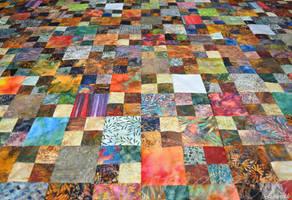 WIP Batik scrap quilt by Esmerelde