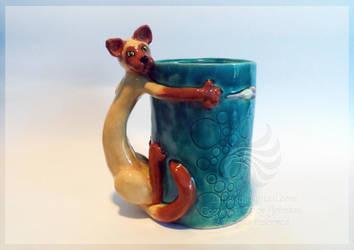 Siamese Chasing a Mouse Ceramic Handmade Mug by LRJProductions