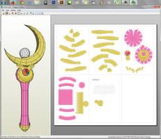 Sailor Moon - Moon Stick Papercraft by aiko-chan14