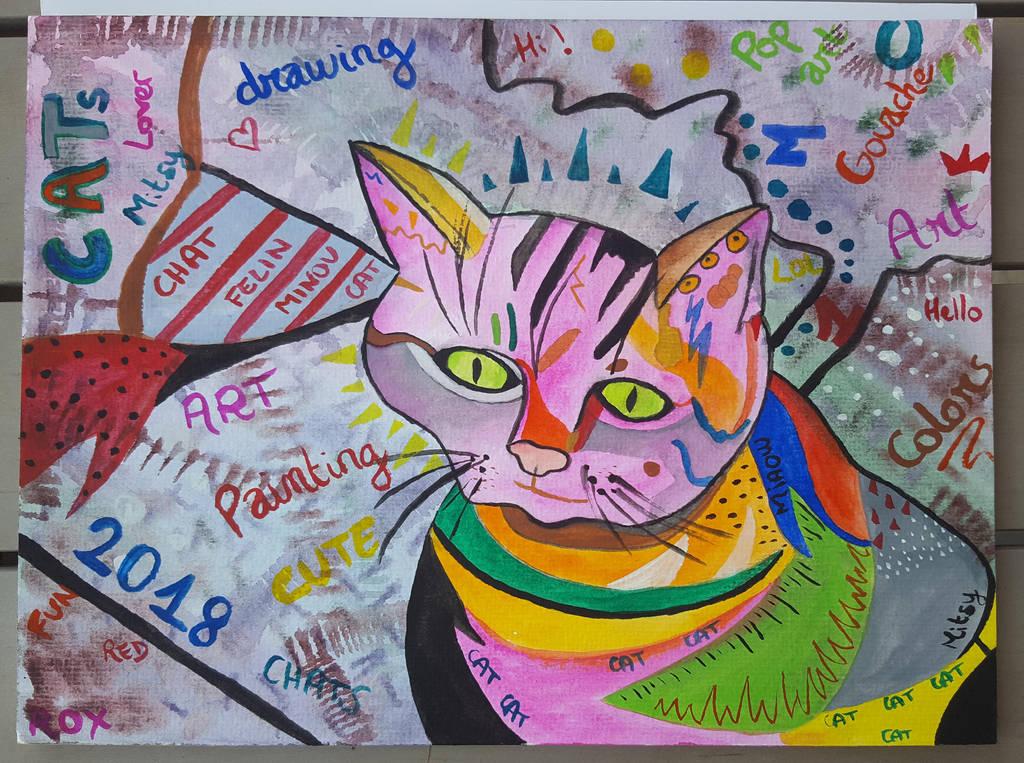 Cat pop art by Rocksane-Art