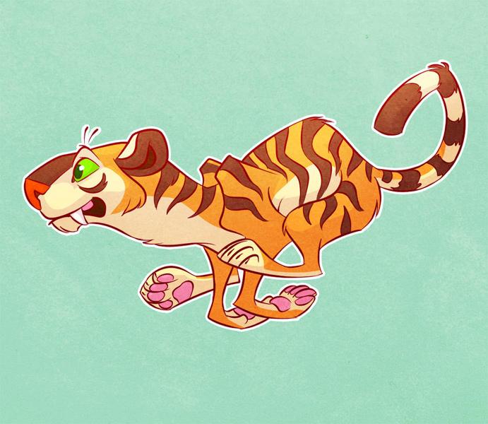 tiger running by artkitty