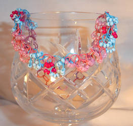 Shaggy Loops Beaded Bracelet - Blue and Pink by Entorien