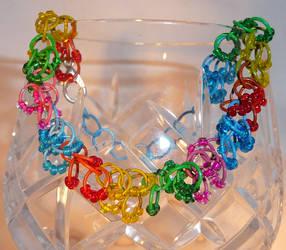 Shaggy Loops Beaded Bracelet - Rainbow Cascade by Entorien