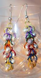 Shaggy Loops Beaded Earrings- Rainbow and Stardust by Entorien