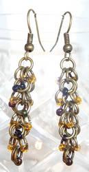 Shaggy Loops Beaded Earrings - Oil and Brass by Entorien