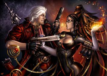 Dante versus Bayonetta by Candra