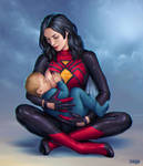 Spider-woman Breastfeeding by Candra