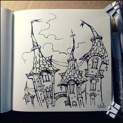 Sketchbook - Fantasy buildings by Candra