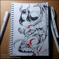Inktober 2018 - Succubus (NSFW on Patreon) by Candra