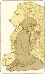Aslan and Lucy by kayshasiemens