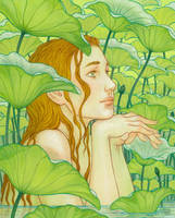 Amidst the Lotus Leaves by kayshasiemens