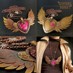 Steampunk Winged Heart Necklace Pendant by popnicute