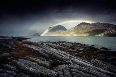 Rainbow over Haukland by Stridsberg