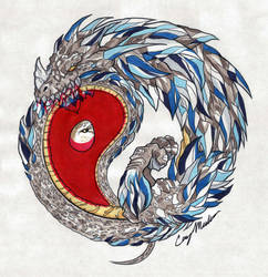 Yin Yang Ouroboros Colored by NarcissusTattoos