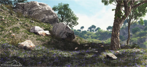 Rocky Outcrop - Flowered Hill by 3DLandscapeArtist