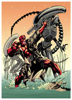Alien and Hellboy Color by pipin