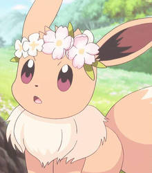 Eevee in a wreath by EndziaXD