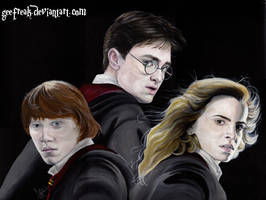 Harry Potter, Ron and Hermione by GeeFreak