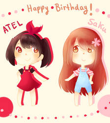 HBD ATEL and Saku!! by Latiasrojo99