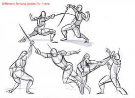 fencing poses for maya_01 by AlexBaxtheDarkSide