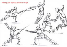 fencing poses for maya_02 by AlexBaxtheDarkSide