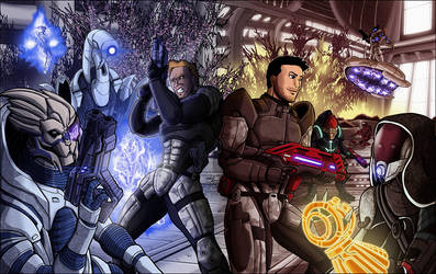 Mass Effect One with Two Sheps and Squad by shumworld