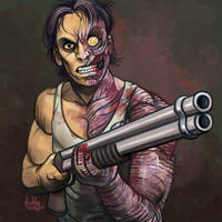 Daily Sketches Zombie with a Shotgun by fedde