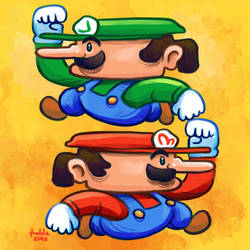Daily Sketches The Mario Bros by fedde