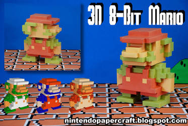 3D 8-Bit Mario Papercraft by squeezycheesecake