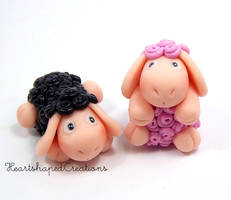 Walby and Molly Sheep Magnets by HeartshapedCreations