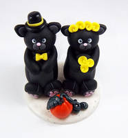 Black Cats Wedding Cake Topper by HeartshapedCreations