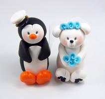 Penguin and Polar Bear (Marine Theme) Cake Topper by HeartshapedCreations