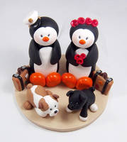 Penguins and Dogs Cake Topper by HeartshapedCreations
