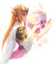 Princess Zelda and Kirby by rossdraws