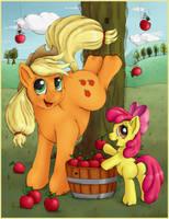 Just Applejack and Apple Bloom by nezudomo