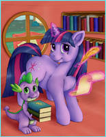 Just Twilight Sparkle and Spike the Dragon by nezudomo