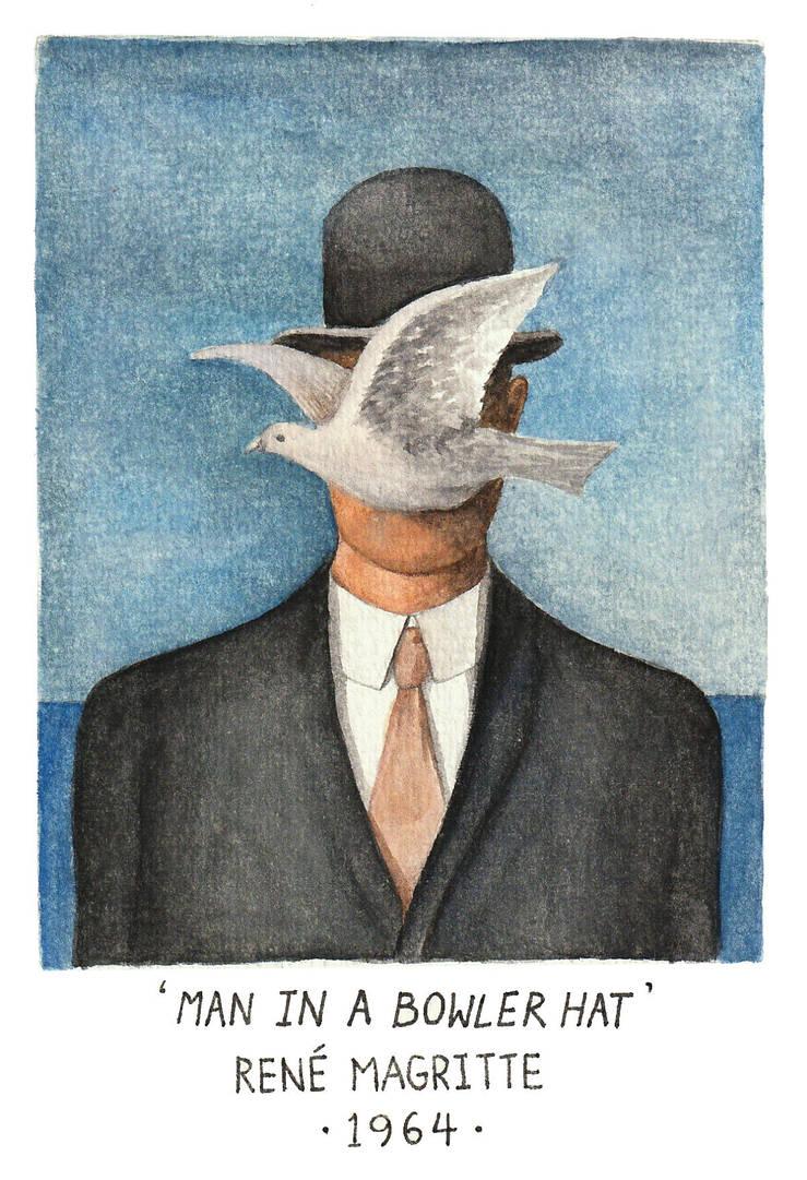 'Man in A Bowler Hat' in Watercolour by amanda4quah