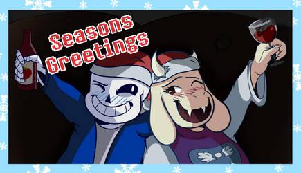 Undertale - Sans and Toriel Christmas Card by AnthRamen