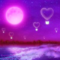Night heart balloon flight by bluegerbera-yuki