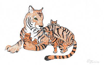 tiger and cubs by Wynnifredd