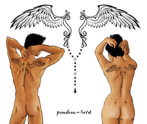 Tattoo idea - Wings 01 by Pandora-Gold