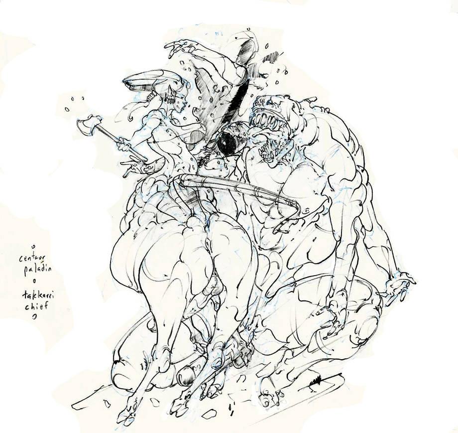 centaur paladin battles takkari chief! :D by Selkirk