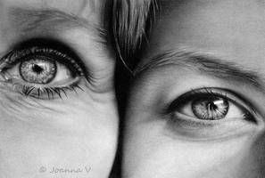 Mother and Daughter - pencil drawing by Joanna-Vu