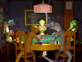 Geckos Playing Poker by Shikijiyu