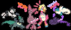 YCH - Giraffaroo, Fumi, and Kintaur [Open!] by 404msg
