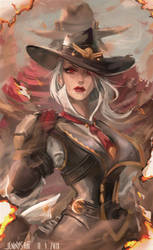 Ashe and McCree from Overwatch by jennyshiii