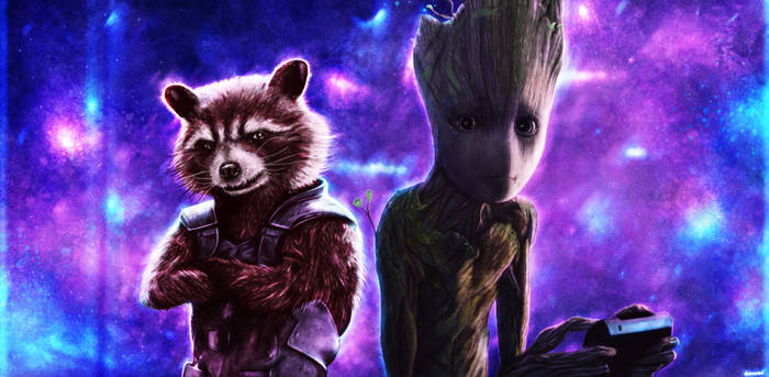 Rocket and teenage Groot  by p1xer