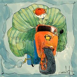 The fatty with a three-wheeler by eskitenekekutu