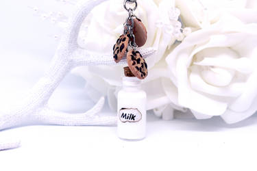 Milk and Cookies Bottle Charm Keyring by SophieXSmith