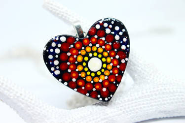 Red Mandala Heart Necklace by SophieXSmith
